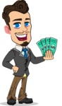 Simple Style Cartoon of a Businessman with Goatee - Holding Money