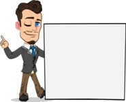 Simple Style Cartoon of a Businessman with Goatee - Holding a Blank sign and Pointing
