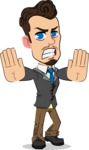 Simple Style Cartoon of a Businessman with Goatee - Making stop with a hand