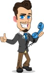Simple Style Cartoon of a Businessman with Goatee - Holding phone with thumbs up