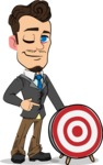 Simple Style Cartoon of a Businessman with Goatee - with Target