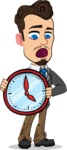 Simple Style Cartoon of a Businessman with Goatee - Holding clock