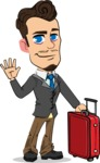 Simple Style Cartoon of a Businessman with Goatee - with Suitcase