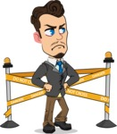 Simple Style Cartoon of a Businessman with Goatee - with Under Construction sign