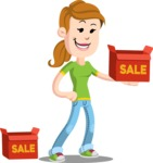 Simple Style Casual Girl Cartoon Vector Character AKA Agnes McJeans - Sale