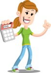 Simple Style Casual Girl Cartoon Vector Character AKA Agnes McJeans - Calculator