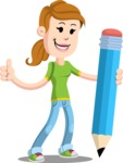 Simple Style Casual Girl Cartoon Vector Character AKA Agnes McJeans - Pencil