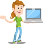 Simple Style Casual Girl Cartoon Vector Character AKA Agnes McJeans - Laptop 3