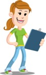 Simple Style Casual Girl Cartoon Vector Character AKA Agnes McJeans - Notepad 2