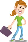 Simple Style Casual Girl Cartoon Vector Character AKA Agnes McJeans - Briefcase 1