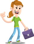 Simple Style Casual Girl Cartoon Vector Character AKA Agnes McJeans - Briefcase 2