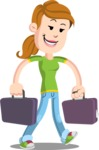 Simple Style Casual Girl Cartoon Vector Character AKA Agnes McJeans - Briefcase 3