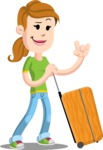 Simple Style Casual Girl Cartoon Vector Character AKA Agnes McJeans - Travel 1