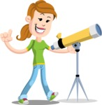 Simple Style Casual Girl Cartoon Vector Character AKA Agnes McJeans - Telescope