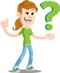 Simple Style Casual Girl Cartoon Vector Character AKA Agnes McJeans - Question