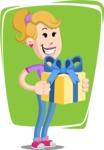 Flat Blonde Girl Cartoon Vector Character AKA Emma - Shape 8