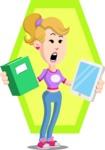 Flat Blonde Girl Cartoon Vector Character AKA Emma - Shape 10