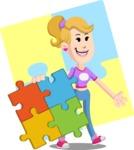 Flat Blonde Girl Cartoon Vector Character AKA Emma - Shape 12