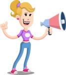 Flat Blonde Girl Cartoon Vector Character AKA Emma - Loudspeaker
