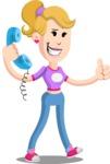Flat Blonde Girl Cartoon Vector Character AKA Emma - Support
