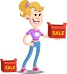 Flat Blonde Girl Cartoon Vector Character AKA Emma - Sale