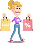 Flat Blonde Girl Cartoon Vector Character AKA Emma - Sale 2
