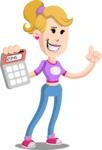Flat Blonde Girl Cartoon Vector Character AKA Emma - Calculator