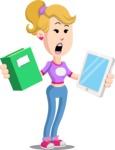 Flat Blonde Girl Cartoon Vector Character AKA Emma - Book and iPad
