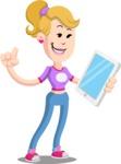 Flat Blonde Girl Cartoon Vector Character AKA Emma - iPad 3