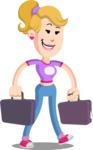 Flat Blonde Girl Cartoon Vector Character AKA Emma - Briefcase 3