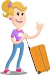 Flat Blonde Girl Cartoon Vector Character AKA Emma - Travel 1