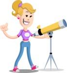 Flat Blonde Girl Cartoon Vector Character AKA Emma - Telescope