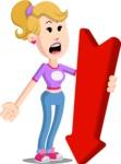 Flat Blonde Girl Cartoon Vector Character AKA Emma - Pointer 3