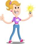 Flat Blonde Girl Cartoon Vector Character AKA Emma - Idea 1