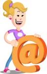 Flat Blonde Girl Cartoon Vector Character AKA Emma - Email