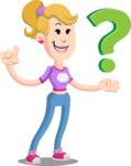 Flat Blonde Girl Cartoon Vector Character AKA Emma - Question