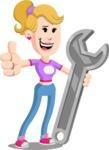 Flat Blonde Girl Cartoon Vector Character AKA Emma - Repair