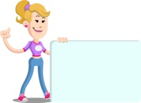 Flat Blonde Girl Cartoon Vector Character AKA Emma - Sign 7