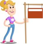 Flat Blonde Girl Cartoon Vector Character AKA Emma - Sign 9