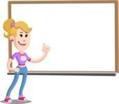 Flat Blonde Girl Cartoon Vector Character AKA Emma - Presentation 3