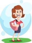 Flat Female Cartoon Vector Character AKA Masha Manners - Shape 5