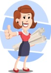 Flat Female Cartoon Vector Character AKA Masha Manners - Shape 9
