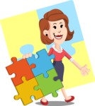 Flat Female Cartoon Vector Character AKA Masha Manners - Shape 12