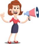Flat Female Cartoon Vector Character AKA Masha Manners - Loudspeaker