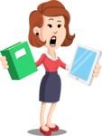 Flat Female Cartoon Vector Character AKA Masha Manners - Book and iPad