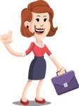 Flat Female Cartoon Vector Character AKA Masha Manners - Briefcase 2