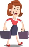 Flat Female Cartoon Vector Character AKA Masha Manners - Briefcase 3