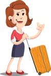 Flat Female Cartoon Vector Character AKA Masha Manners - Travel 1