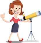 Flat Female Cartoon Vector Character AKA Masha Manners - Telescope