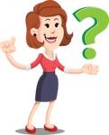 Flat Female Cartoon Vector Character AKA Masha Manners - Question